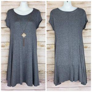 Dark Gray T- Shirt Dress